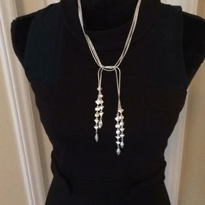 Stella and Dot Silvertone Brynn Lariat Necklace